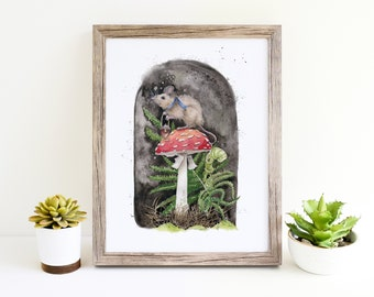Miss Mouse Ventures Out watercolor painting, woodland mouse on mushroom illustration, MUSHROOM PRINT, unframed 8 1/2 x 11, woodland print