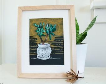 JADE ON BLACK oil pastel painting, plant art, framed plant art, houseplant painting, succulent painting, original art