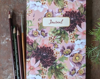 September Gatherings Floral Journal | Softcover Journal | Blank Journal | Lined Journal | Floral Notebook | Dahlia Journal | Floral Diary