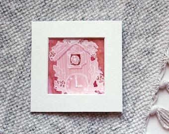 CUCKOO CLOCK Miniature Watercolor Mixed Media Painting, Small Original Painting Unframed