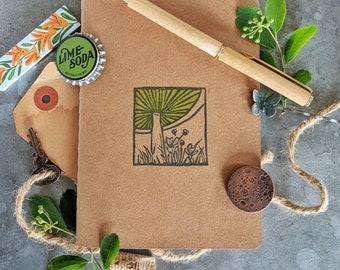 Mushroom Linocut Kraft Paper Notebook, Small Lined Notebook, Blockprint Notebook, Mushroom Notebook, Pocket Notebook