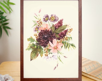 September Gatherings, 8 x 10, Limited Edition Giclee, Fall Floral, Watercolor Print, Dahlia Painting, Watercolor Floral