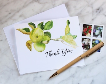 Set of Six Golden Apple Thank You Cards with Modern Calligraphy Font, Blank Cards, Watercolor Cards