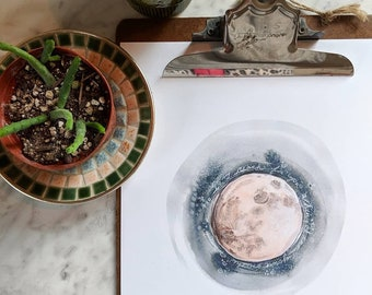 ON the WANE watercolor moon illustration PRINT unframed 8x10, free shipping to U.S.