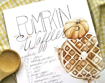 Digital Download PUMPKIN WAFFLES Illustrated Recipe Print, watercolor print, art print