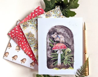 Set of Eight Blank Woodland Notecards, Blank Cards, mushroom cards, acorn cards, mouse cards, card set, free shipping to U.S.