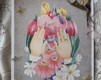 Love the Giver: Floral Print, watercolor PRINT, 8 x 10 print, Victorian Valentine Print, Valentine Illustration, cottagecore art