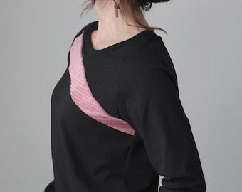 raglan long sleeved top/scoop crew neckline/black cotton jersey with sweater and pink velvet details