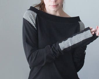 raglan boatneck top with extra long sleeves/looser fit/Black with Black/White stripe details