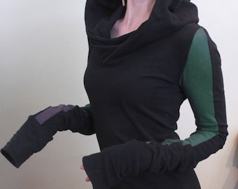 Extra long sleeved hooded tunic dress/colorblock sleeves/Black with Forest Green/Cement