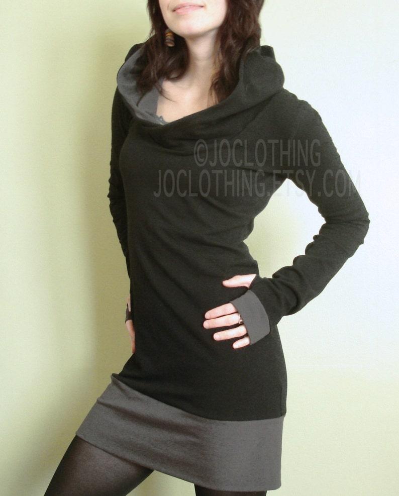 f9fbd959cdeabf Hooded tuniek jurk extra lange mouwen w duim gaten zwart en
