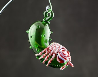 Facehugger Alien Christmas Pickle Glass Ornament in Your Choice of Color