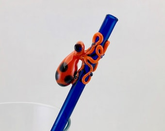 Octopus Glass Straw in Cobalt Blue & Orange, #914