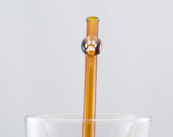 Paw Print Glass Straw in Amber, #916