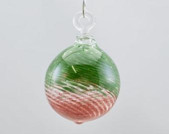 Globe Glass Ornament in Ruby & Green Frit, #881
