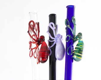 Octopus Glass Straw in Your Choice of Color