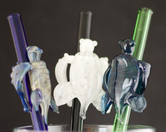 Turtle Glass Straw in Your Choice of Color