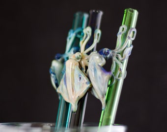 Squid Straw / Glass Drinking Straw / Reusable / Non-Toxic Pyrex / BPA Free / Reusable Straw / Barware / You Choose the Color / Made to Order