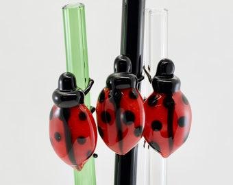 Ladybug Glass Straw