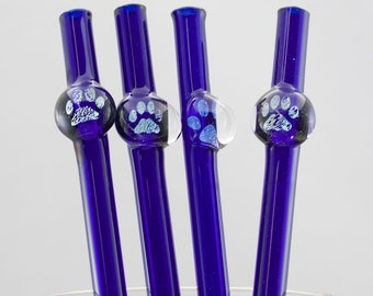 Paw Print Glass Straw in Cobalt Blue, #852-5