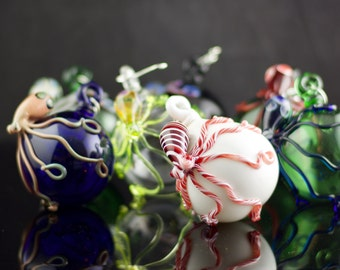 Octopus Glass Globe Ornament in Your Choice of Color