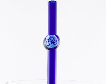 Bicycle Dichroic Glass Straw in Your Choice of Color