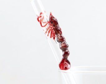 Octopus Glass Straw in Clear & Ruby, #840