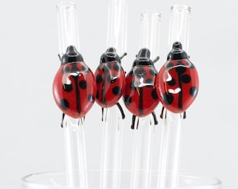 Lady Bug Glass Straw in Clear, #856-9, #903