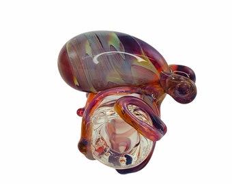Octopus Glass Dread Bead in Clear & Amber Purple, #936