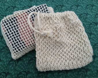 Natural Cotton Soap Saver, soap sack, a gently exfoliating soap saver bag for longer lasting bars of soap, soap pouch, soap scrubby,