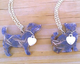 Purple Forget Me Not PET Remember Me Resin Pendants, Choice Cat or Dog Ln1001, Pet memorial, Embrace, Love my Pet, Reclaimed flowers by Lynn