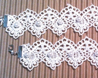 """White Lace with Pearl Ribbon Anklet or Bracelet, Ln802, 1  1/2"""" wide, Boho, Wedding, Summer Vacation, Gothic, Steampunk, Hippy, by Lynn"""