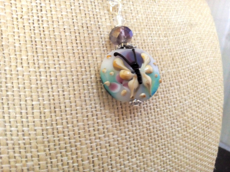 BUTTERFLY Handmade Lampwork Glass Pendant Necklace Ln443 Birthday Bug by Lynn Sra jewelry gift Crystal Vacation Picnic Beach