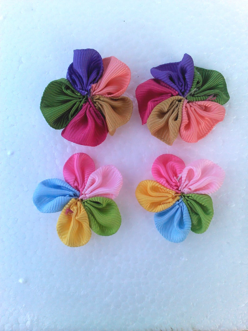 Grograne Ribbon Multi Color Ribbon Flower Rosette Surgical Steel Stud EARRINGS 2 Color Choice Boho by Lynn Ln880 Lead and nickle free