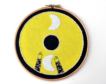 To The Moon hand embroidery art