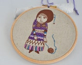 The Girl Who Knitted Love III - embroidery hoop art & screen print - 6''
