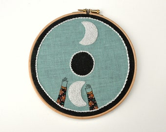 To The Moon wall hanging embroidery hoop art