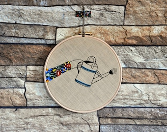 Wall hanging hoop art The Watering Can