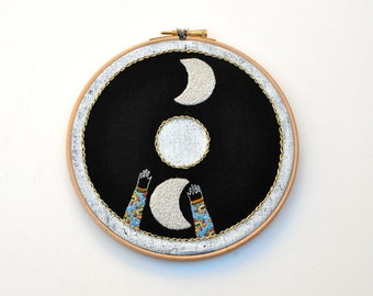 embroidery hoop art - To The Moon
