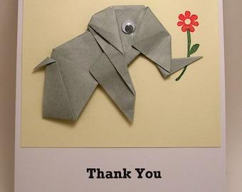 Origami Elephant Thank You Card