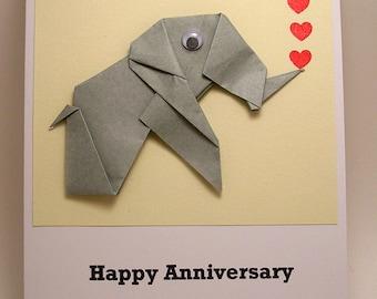 Origami Elephant Happy Anniversary Card