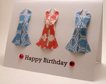 Mini Origami Dress Birthday Card (red blue)
