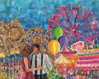 Love at the Carnival (Original Mixed Media Collage)