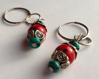 Earrings, Turquoise, Red Coral, Silver,  Dangle, Sterling Ear Hoop, Handcrafted, Tribal, Organic, One Of A Kind, Mongolian Inspired, Artisan