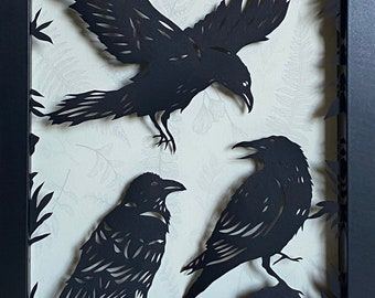 A CONSPIRACY of RAVENS Papercut in Shadow Box - Hand-Cut Silhouette, Framed