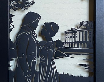 PRIDE and PREJUDICE Papercut in Shadow Box - Hand-Cut Silhouette, Framed