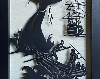 MOBY DICK Papercut in Shadow Box, Framed - Hand-Cut Silhouette