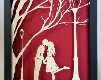 AUTUMN KISS Papercut in Shadow Box - Hand-Cut Silhouette, Framed