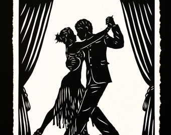 The TANGO DANCERS - Hand-cut Papercut