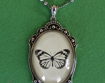 BUTTERFLY Necklace, pendant on chain - Silhouette Jewelry